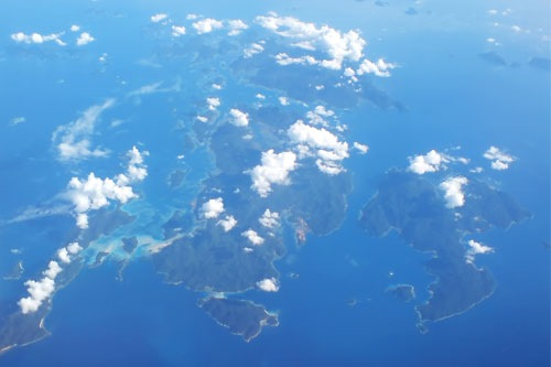 Island view from the plane